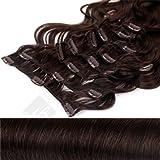 Clip In Extensions Haarverlängerung XXL Set 55 cm - gewellt - Farbton Schokobraun