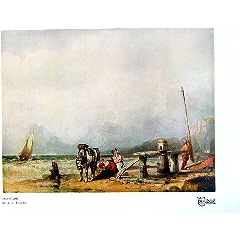 Imprima al Hombre 1921 303Q159 de las Cuerdas de la Playa de la Familia del Caballo del Barco de los AE Penley del Paisaje Marino