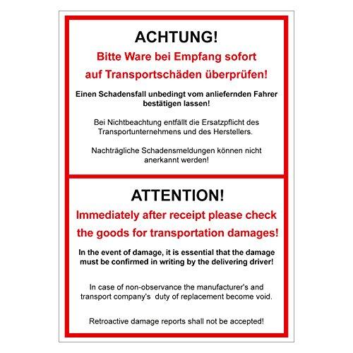 Verpackungskennzeichen Achtung! Bitte Ware bei Empfang sofort überprüfen zweisprachig 500 St. 74 x 105 mm Haftpapier Paketaufkleber Versandaufkleber Etiketten