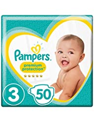 Pampers Premium Protection Size 3, 50 Nappies, 6kg - 10kg