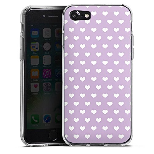 Apple iPhone X Silikon Hülle Case Schutzhülle Herzchen Flieder Polka Silikon Case transparent