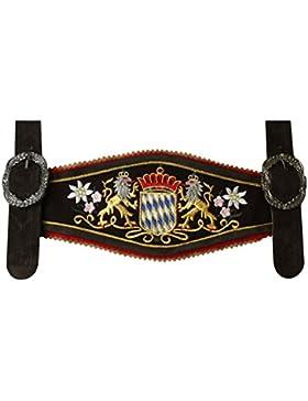 GermanWear, Lederhose Hosenträger mit Bayerischem Wappen-stickerei