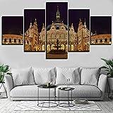 zfkdsd (Sin Marco) 5 Panel Fuente De Construcción Alemania Hamburgo Estatua Lienzo HD Imprimir Poster Lienzo Pintura Arte De La Pared Home Imagen Modular Decorativa-40x60cmx2,40x80cmx2,40x100cmx1