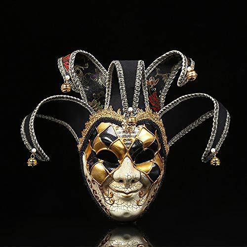 Mikepie maschera veneziana carnevale, retro maschera di smiley clown, per partito di halloween, natale travestimento maschera, uomo e donna golden