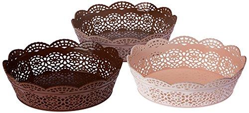 Nayasa Lacy 3 Piece Oval Plastic Fruit Basket Set, Beige, Peach and Chocolate