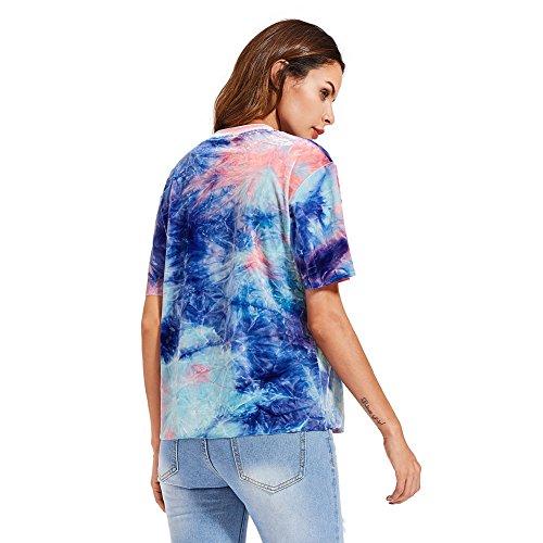 SOLYHUX Femme T-shirt Top Manches Courtes Tee Col Rond Tunique Couleur Unique Multicouleur Multicouleur