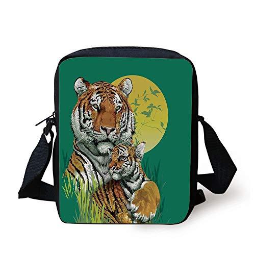 CBBBB Safari Decor,Tiger Family in Jungle Full Moon Light Night Grass Aggressive Abstract, Print Kids Crossbody Messenger Bag Purse - Safari Room Decor