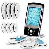 Electroestimulador digital, para aliviar el dolor muscular y el fortalecimiento muscular, masaje, EMS, TENS, pantalla LCD azu