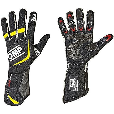 Nuovo. IB/759OMP One Evo Guanti 2015Hi-Tech leggero Motorsport fia 8856–2000, Black / Yellow, XL (USA 12) 25,5-30 cm - Guanti In Pelle Di Cambio