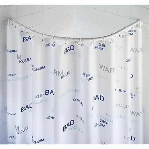 WENKO 19220100 Bastone tenda doccia curvo chrome - variabile, Alluminio, Cromo