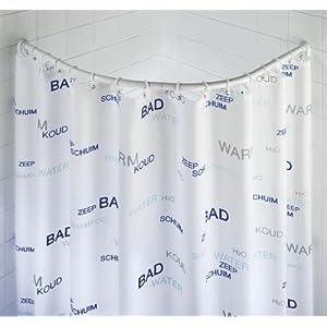 WENKO 19220100 Barra semi circular cromado – variable para cortina de baño, Aluminio, Cromo