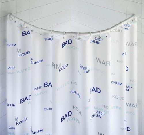 WENKO 19220100 Barra semi circular cromado - variable para cortina de baño, Aluminio, Cromo