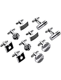 Lictin Men's Cufflinks Cuff Links for Men, 5 Pairs Stainless Steel Classic Tone Cufflinks Black Striped Cuff Links Shirt Suit Cufflinks