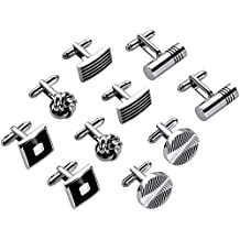 Lictin Men's Cufflinks Cuff Links Men, 5 Pairs Stainless Steel Classic Tone Cufflinks Black Striped Cuff Links Shirt Suit Cufflinks