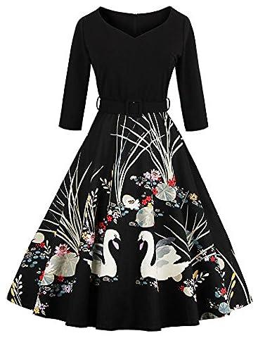 Robe Noir Vintage - Eudolah Robe vintage patineuse a imprime des