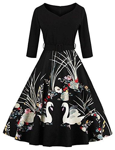 Eudolah Robe vintage patineuse à imprimé des motifs de cygne/fleurs années 50 avec manches Femme Noir