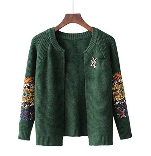 COCO clothing Basic Patchwork Aperto Cardigan Donna Manica Lunga Maglione Girocollo Casual Corte Tops Sweater Outwear militare verde