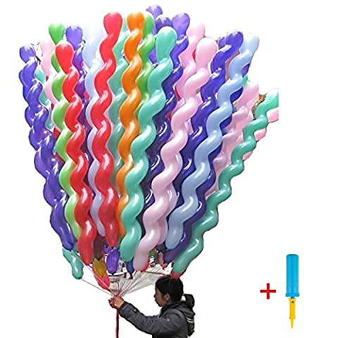 LeadTry 40-Inch Latex Spiral Balloons, 100 Peices Premium Quality Spiral Party Balloons: Assorted Color Unique Twisted Latex Balloon, Hand Held Air Inflator for Birthdays and Events (Spiral)