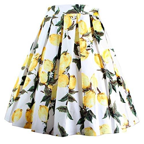 DresseverBrand Damen Rockabilly Rock A Linie Retro Rock Midi Swing Röcke Lemon(White) Medium - Retro Floral Print Baumwolle
