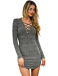 Cravog Femmes Pull Tricot Mini Sexy Robe Col V Manches Longues Dentelle Casual Bodycon