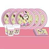 Disney Babyparty Minnie Maus Partygeschirr - Partyset für 16 Becher Teller Servietten