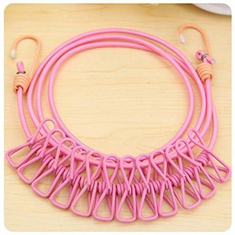 Igemy durable sauvage de voyage portable coupe-vent élastique Clips Cintre à sec de vêtements à suspendre Corde Ligne rose