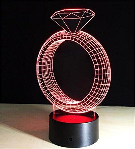 REDOI 3D Nachtlicht Kreativ Diamant-Ring Dreidimensional Verfärbung Visuelles Licht Persönlichkeit berühren Schlafzimmer Dekoration Mikro-diamant-ring