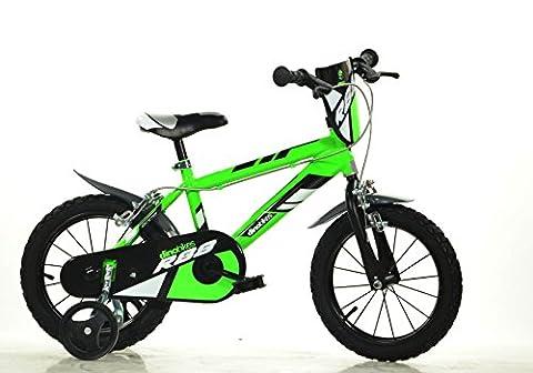 DINO BIKES MTB 414U 14 pouce KIDSBIKE boy vélo, bicyclette, enfant-velo, bécane, vélocipède, rouler en vélo, faire du vélo..vert..stabilisateurs..bidon..gardeboue.. 14pouce 3-6 ans