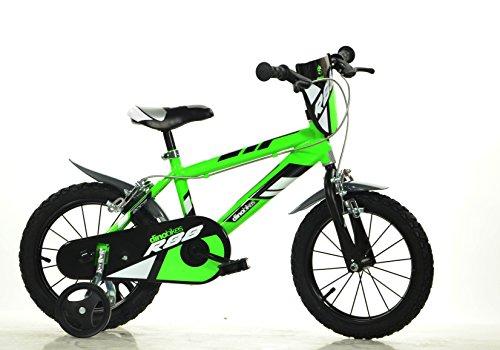 Jungen Kinderfahrrad grün 414U Jungenfahrrad - 14 Zoll | TÜV geprüft | Original | Kinderrad mit Stützrädern - Das Fahrrad als Geschenk für Jungen