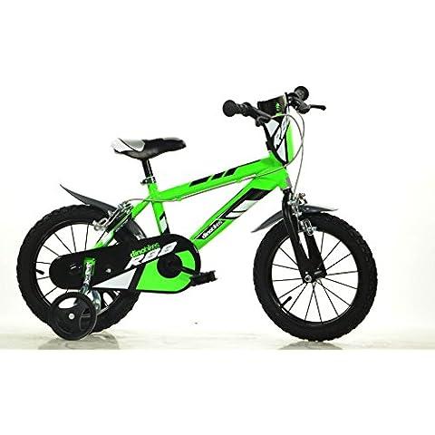 DINO SPORT MTB Bike 414U 14 pulgadas, Bicicleta de niño, Kidsbike , bicicleta, bicicleta del niño , la bici, velocípedo , bicicleta , ciclismo verde, estabilizadores, guardabarros, bidon • 14 pulgadas 3-6 años 100-120 cm 47-55cm elevación del