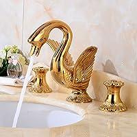 kokeruup Grifo de cobre de oro europeo baño retro grifo de tres orificios chapado en oro
