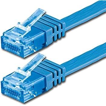 15m - Câble plat CAT6a Ethernet (500 Mhz) bleu - 1 piece (Cat 6a) - transfert de données haut supplémentaire - | 15m | jusqu'à 10000 Mo/s | Câble Réseau RJ45 | ruban | mince | Gigabit | 8P8C ( Or plaqué 3? ) des surfaces de contact | CAT5 CAT6 compatible | Ribbon cable | idéal pour les planchers , stratifié, parquet , bandes frontalières , des plinthes , des tapis