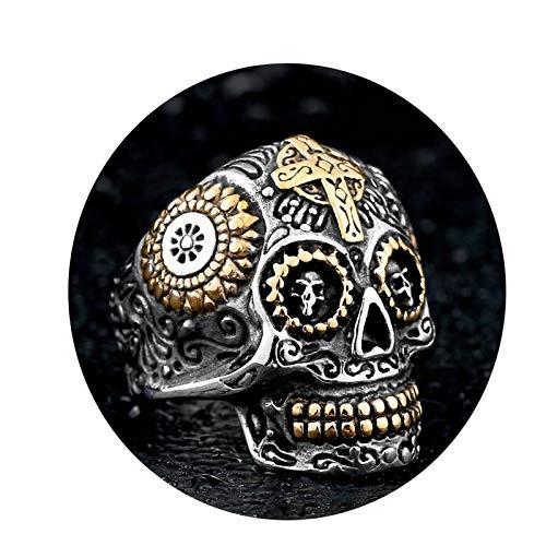 Amody 23MM Anillo gótico de los Hombres Vergüenza Cruz del cráneo Oro Plata Anillo de Acero Inoxidable para Hombre Tamaño 25
