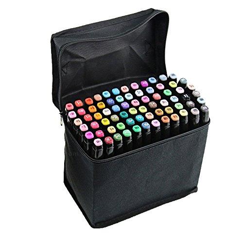 BEETEST 60 Piezas Tinta pluma bolígrafo marcador Set con bolsa negra a base de Rotuladores Alcohol de color pintura gráfico arte doble punta cáscara del lápiz negro