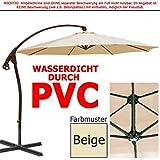 habeig® LUXUS Ampelschirm 3m Beige WASSERDICHT durch PVC Schirm 300cm