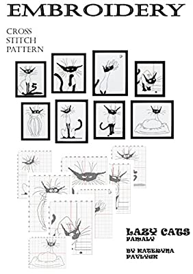 Hand embroidery design books to Download set of 8 Funny cat pictures and Black cats cross stitch patterns to Home canvas Wall art