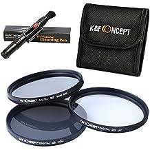 77MM UV CPL ND4 - K&F Concept® 77mm Pack de Filtros Kit UV CPL ND4 para Canon Nikon Sigma Tamron DSLR Cámaras + Pluma de limpieza + Bolsa de 3 Filtro