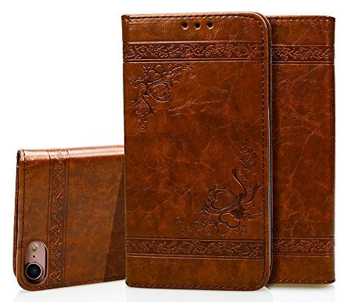 Para iPhone 7/7G (4,7 zoll) Funda, Ecoway Serie de patrones en relieve(Marrón claro) Cuero de la PU Leather Cubierta ,Función de Soporte Billetera con Tapa para Tarjetas Soporte para Teléfono