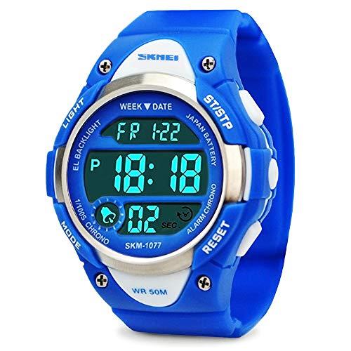 Jungen Digital Uhren, Kinder Sport Armbanduhr mit Alarm, Outdoor 50 m Wasserdicht Kinder Elektronische Handgelenk Uhren mit LED-Licht Stoppuhr für Jugendliche Jungen - Blue (Lego Nes)
