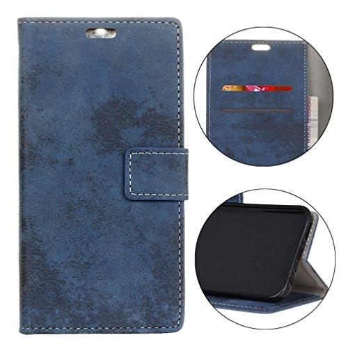 Sunrive Hülle Für Alcatel A7 XL 7071D, Magnetisch Schaltfläche Ledertasche Schutzhülle Case Handyhülle Schalen Handy Tasche Lederhülle(Retro blau)+Gratis Universal Eingabestift