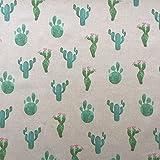 Funky Kaktus Design Baumwolle Rich Leinen Look Stoff für Vorhänge Jalousien Craft Quilting Patchwork & Upholstery 139,7cm 140cm breit, Meterware,
