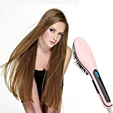 #7: Flying Birds Fast Hair Straightener Brush with Temperature, 464466966 (Pink)