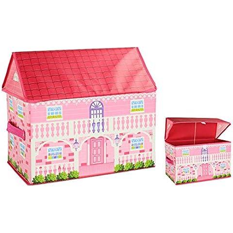 Los niños de almacenamiento Juguete De caja con tapa en forma de la casa para guardar archivo de cubo de almacenamiento de 40 × 25 × 37CM (Estilo