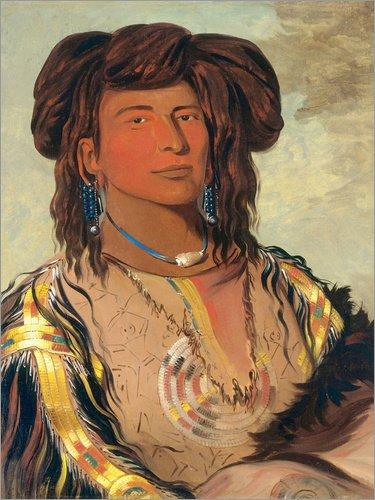 x 80 cm: Ha Won je tah, Ein Horn, Häuptling der Miniconjou Tribe von George Catlin - hochwertiger Kunstdruck, neues Kunstposter (Traditionelle Kleidung Von Amerika)