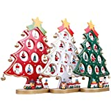 Toyvian DIY Cartoon Wooden Christmas Tree Decoration Christmas Gift Ornament Table Desk Decoration (Green)