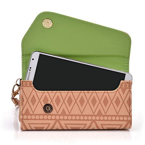 Kroo Tribal Urbain style Téléphone Mobile Walllet embrayage pour Prestigio MultiPhone 8500DUO multicolore marron marron