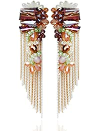 Jewels Galaxy Luxuria Designer Copper Drop Earring for Women (Multi-Colour)(ERG-2264)