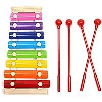 MOHOO Jouet Xylophone 8-Notes Clavier Multicolor en Bois Jouets Musicaux du bébé pour Cadeau Enfant Noël Anniversaire Toussaint Avec 4pcs Baguettes