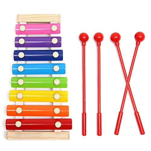 MOHOO Xylophon Glockenspiel Spielzeug 8-Notes Tastatur Multicolor Kinder Musical Spielzeug für Geschenk Kind Weihnachten Geburtstag Toussaint Mit 4 Stück Essstäbchen (Xylophon) (Xylophon MOHOO)