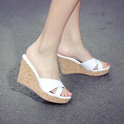 Damen Slipper mit Keilabsatz Modische Anti-Rutsch Leichte Bequeme Lässige Flache Damen Slipper Weiß
